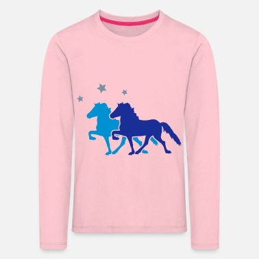 All Two Horses with silver-metallic Stars - Kinder Premium Langarmshirt