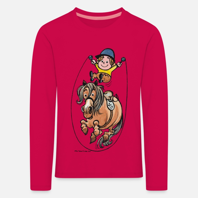 Officialbrands Long sleeve shirts - Thelwell Funny Rope Jumping Horse And Rider - Kids' Premium Longsleeve Shirt dark pink