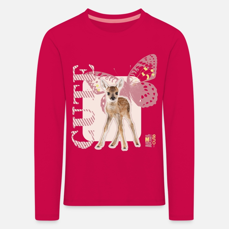 Animal Planet Long sleeve shirts - Animal Planet Fawn with Butterflys Kid's Long Slee - Kids' Premium Longsleeve Shirt dark pink