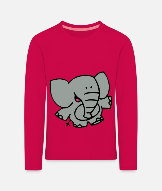 Graphics Long-Sleeved Shirts - Little Elephant by Cheerful Madness!! - Kids' Premium Longsleeve Shirt dark pink