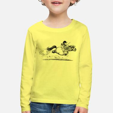 Pony rent Thelwell Cartoon - Kinderen premium longsleeve