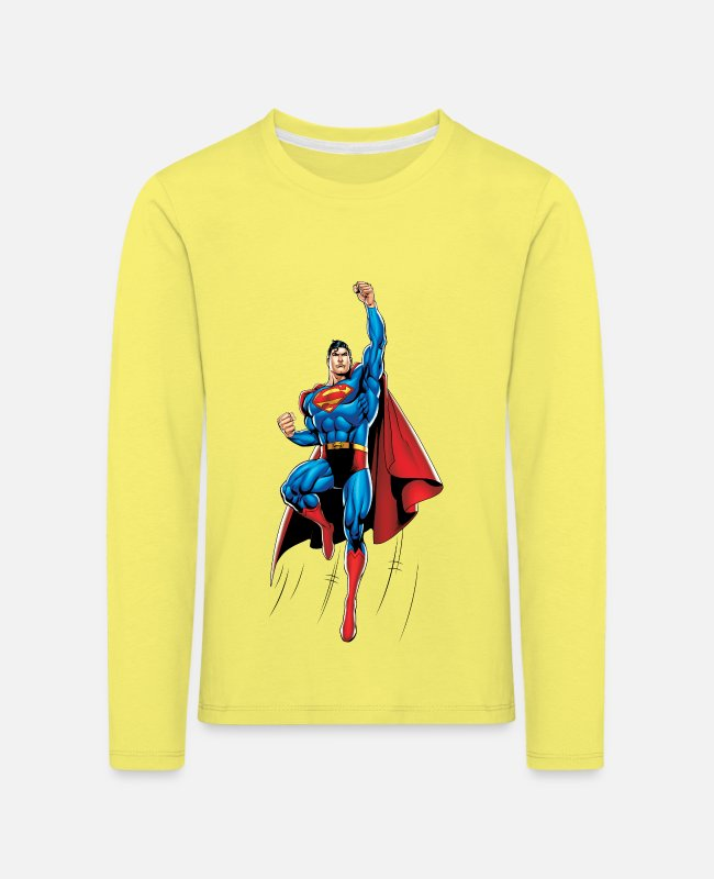 Clark Kent Langarmshirts - Superman Up and Away - Kinder Premium Langarmshirt Gelb