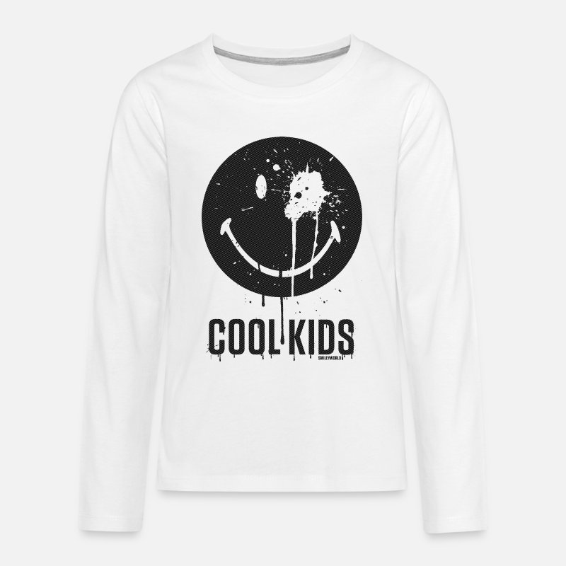 Smiley Maglie a manica lunga - SmileyWorld Cool Kids - T-Shirt manica lunga premium per teenager bianco