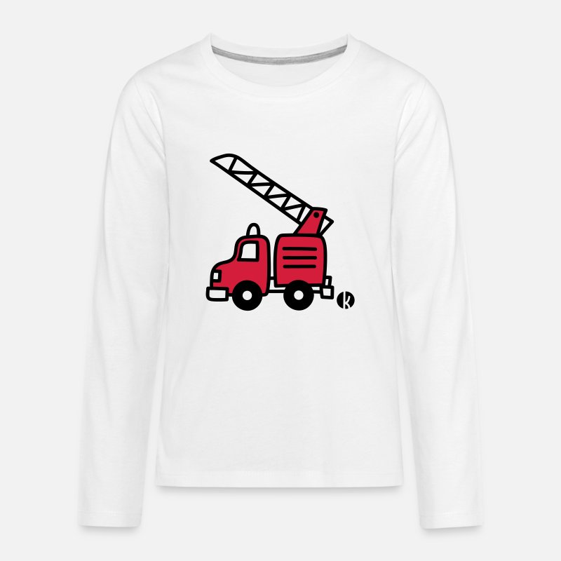 Bestsellers Q4 2018 Long sleeve shirts - Feuerwehrauto (c) - Fire Truck - Teenage Premium Longsleeve Shirt white