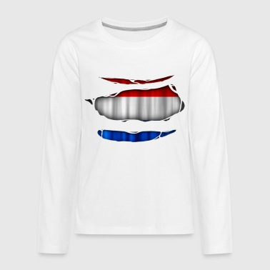 Netherlands flag torn 017 - Teenagers' Premium Longsleeve Shirt
