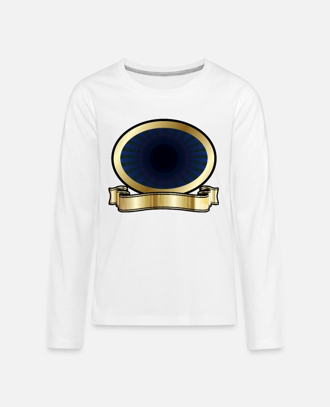 Gold Long-Sleeved Shirts - Blue and Gold Shield - Teenage Premium Longsleeve Shirt white