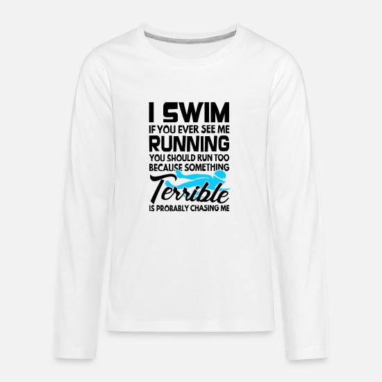 Swim Long sleeve shirts - Swim shirt swimming trunks bathing outdoor gift - Teenage Premium Longsleeve Shirt white