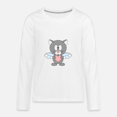Fun Cat - heart - love - love - animal - Teenage Premium Longsleeve Shirt