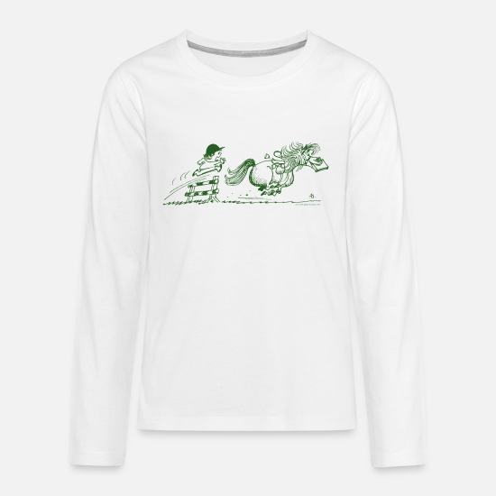 Thelwell Long Sleeve Shirts - Thelwell - Pony running away - Teenage Premium Longsleeve Shirt white
