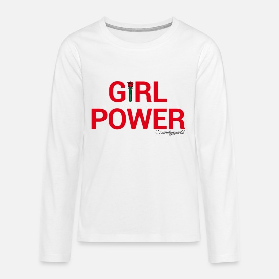Statement Shirts met lange mouwen - SmileyWorld Girl Power - Teenager premium longsleeve wit