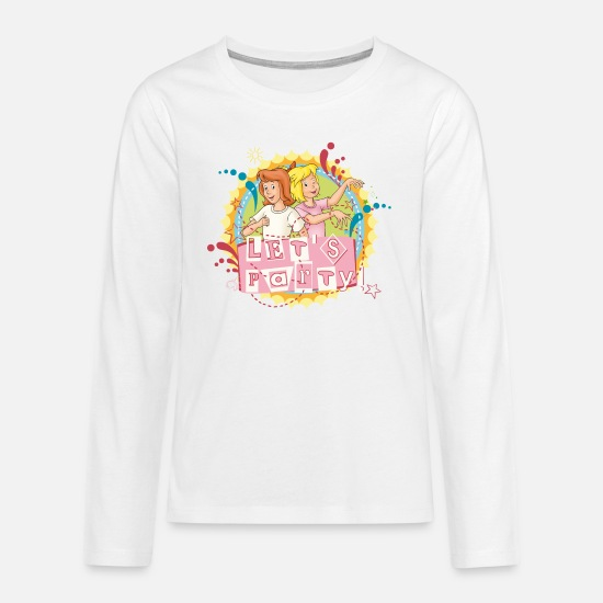 Party Langarmshirts - Bibi und Tina 'Let's Party' - Teenager Premium Langarmshirt Weiß