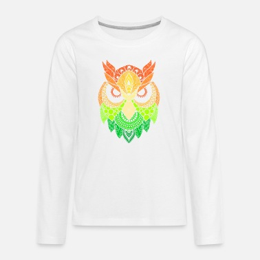 Raider Mandala Owl Eagle Owl Tribal Birds Tattoo Gift - Teenage Premium Longsleeve Shirt