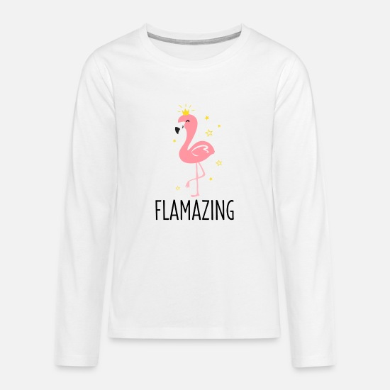 Gift Idea Long Sleeve Shirts - Queen flamingo bird water bird animal gift - Teenage Premium Longsleeve Shirt white