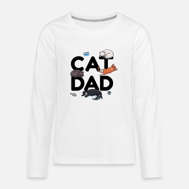 Cat Dad - Cat Cat man Daddy Kitty Meow - Teenage Premium Longsleeve Shirt