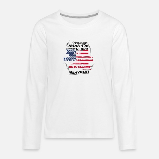 Gift Shirts met lange mouwen - THERAPIE HOLIDAY Reizen Amerika USA Norman - Teenager premium longsleeve wit