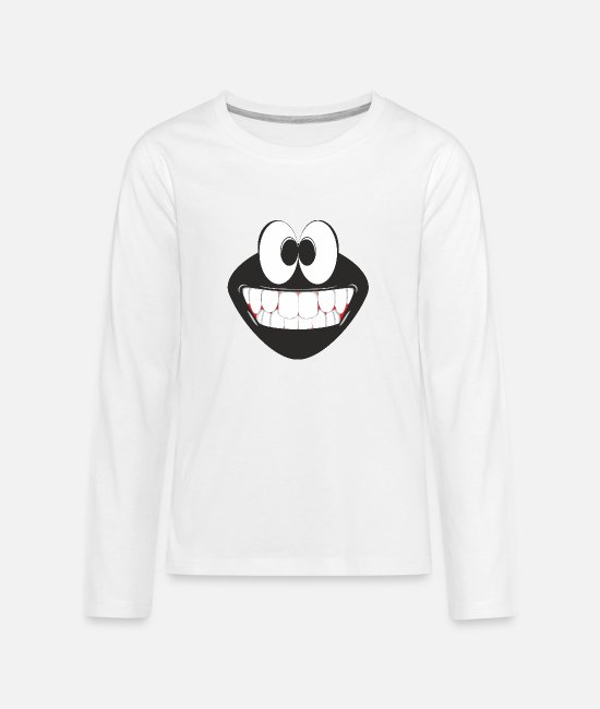 Hipster Long-Sleeved Shirts - Smiling Emoticon - Teenage Premium Longsleeve Shirt white
