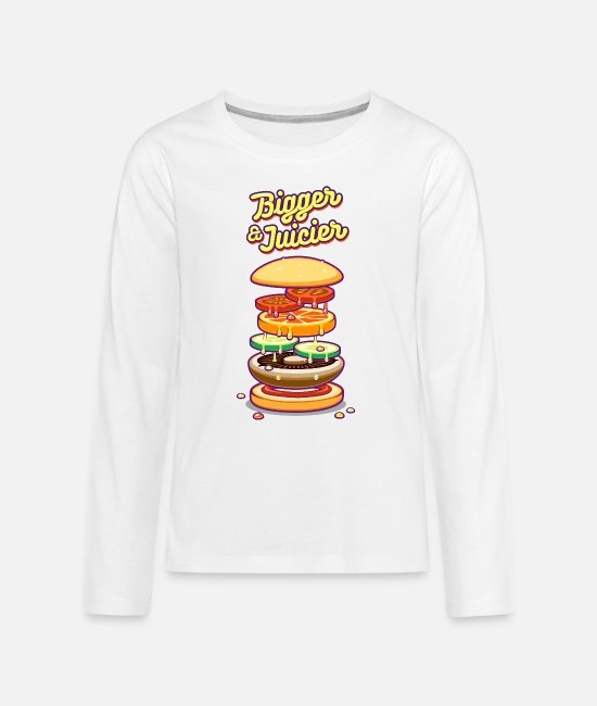 Pizza Long-Sleeved Shirts - Bigger & Juicier - Teenage Premium Longsleeve Shirt white