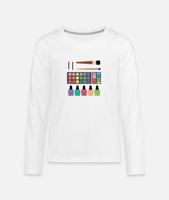 Make-up Shirts met lange mouwen - Make-up set - Teenager premium longsleeve wit