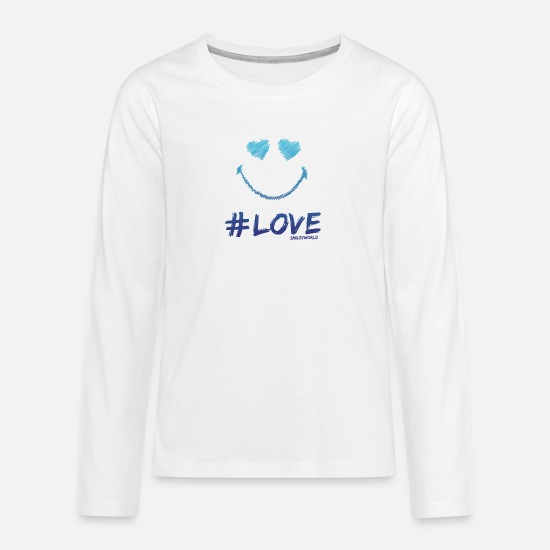 Cool Camisas de manga larga - SmileyWorld '#Love' teenager t-shirt - Camiseta de manga larga premium adolescente blanco