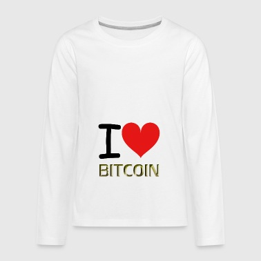 I LOVE BITCOIN - Teenagers' Premium Longsleeve Shirt