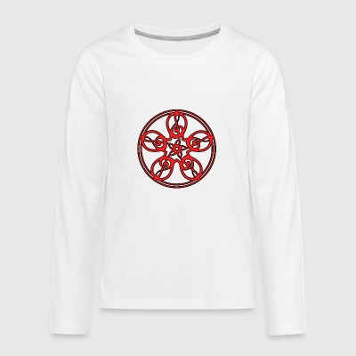 CELTIC CLEF MANDALA (red/black outline) - Teenagers' Premium Longsleeve Shirt