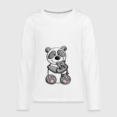 Panda bear with baby - children - family - Teenagers' Premium Longsleeve Shirt