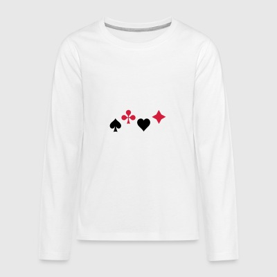 Spades Ass Heart Poker Blackjack Symbol Cards Casino - Teenagers' Premium Longsleeve Shirt