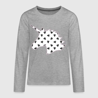 Unicorn with hearts, lilac colors - Teenagers' Premium Longsleeve Shirt