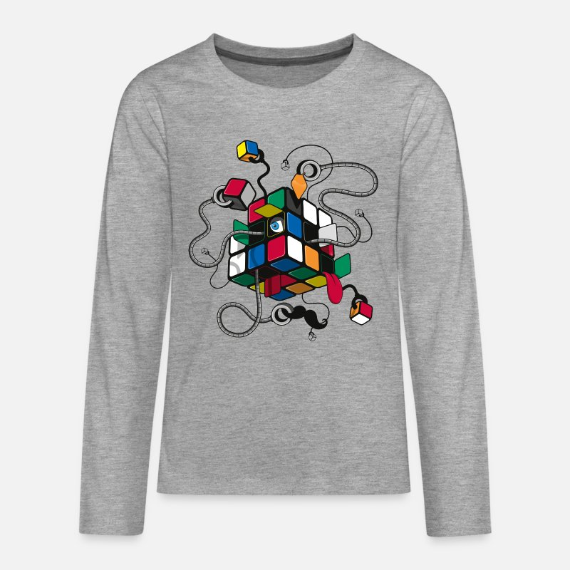 Kids Long Sleeve Shirts - Rubik's Illustrated Cube - Teenage Premium Longsleeve Shirt heather grey