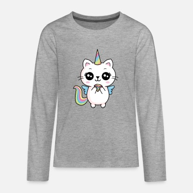 Fillette Licorne chat fée diamant douce fillette - T-shirt manches longues Premium Ado
