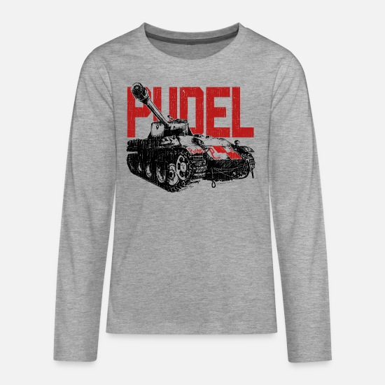 World Long Sleeve Shirts - WoW PUDEL Tank - Teenage Premium Longsleeve Shirt heather grey