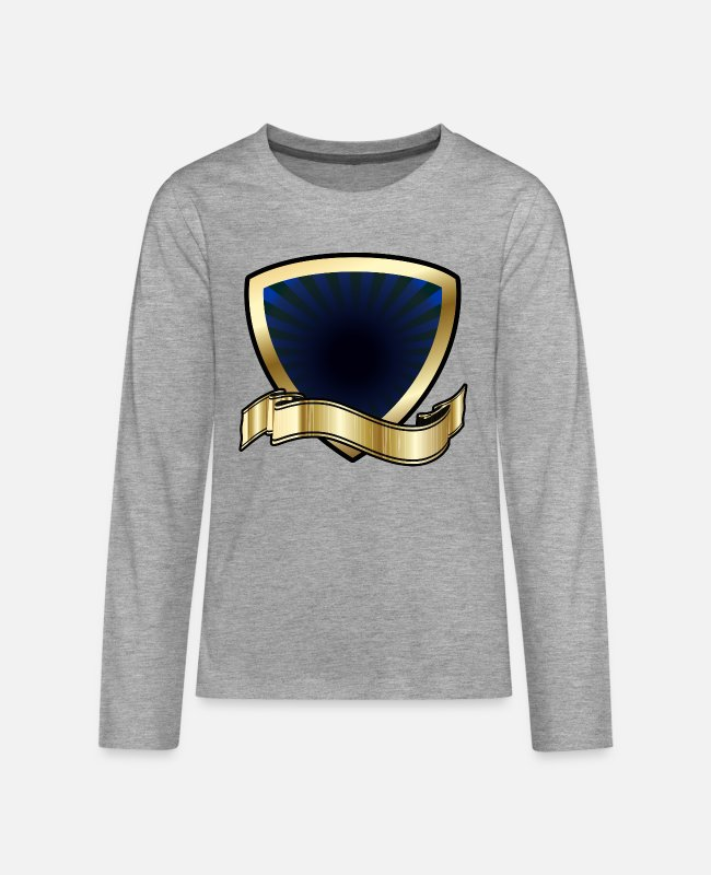 Gold Long-Sleeved Shirts - Blue and Gold Shield - Teenage Premium Longsleeve Shirt heather grey