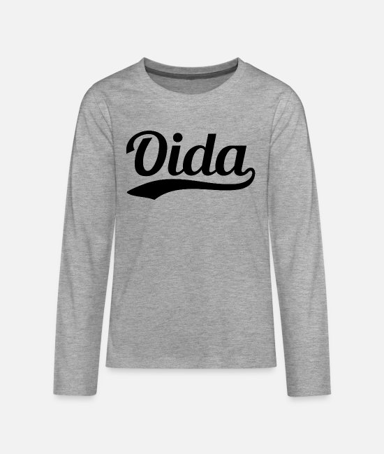 Hawi Oida Long sleeve shirts - Oida Swoosh - Teenage Premium Longsleeve Shirt heather grey