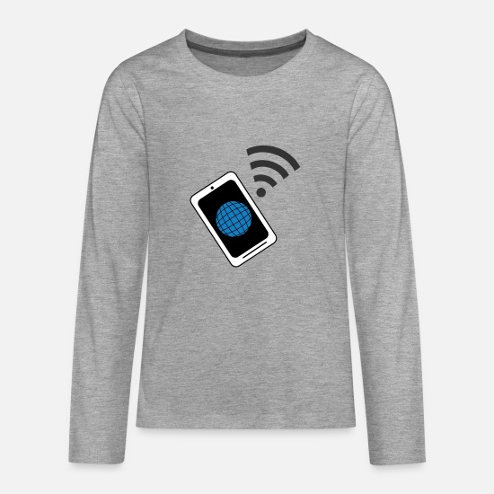 World Long Sleeve Shirts - INTERNET WIFI - Teenage Premium Longsleeve Shirt heather grey