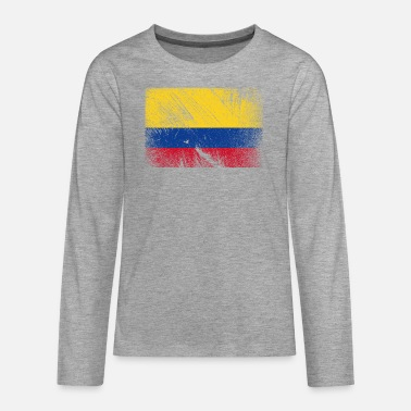 Patriot Colombia flag - vintage grunge - Premium langærmet T-shirt teenager