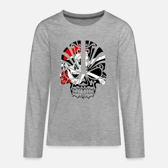 Pirate Skull Long sleeve shirts - Skull pirate - Teenage Premium Longsleeve Shirt heather grey
