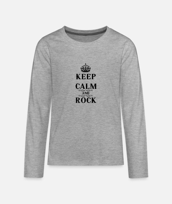 Keep Calm Manches longues - Keep Calm and Rock - T-shirt manches longues premium Ado gris chiné