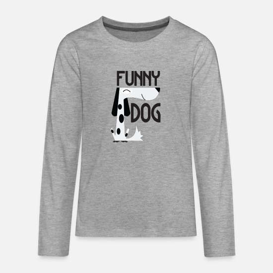 Gift Idea Long sleeve shirts - Funny Dog - Funny Dog - Teenage Premium Longsleeve Shirt heather grey