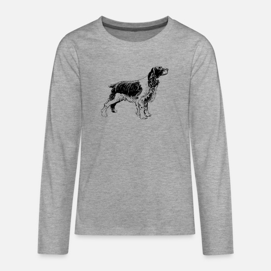 Purebred Dog Long sleeve shirts - Welsh springer spaniel - Teenage Premium Longsleeve Shirt heather grey