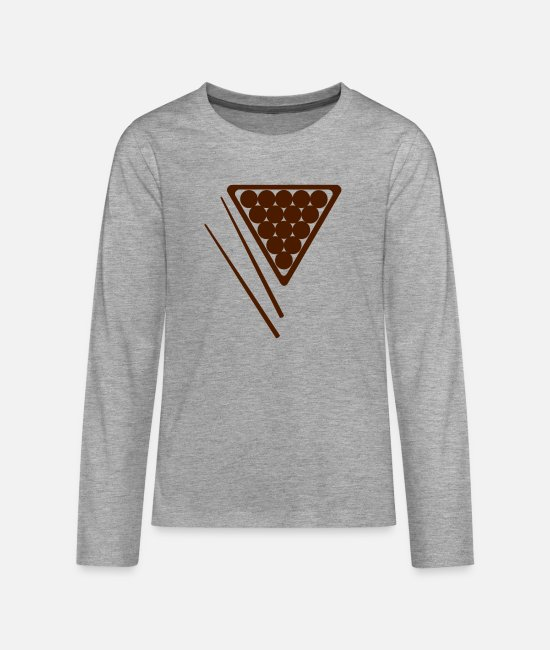 Snooker Game Long-Sleeved Shirts - Snooker Rack and Cues - Teenage Premium Longsleeve Shirt heather grey