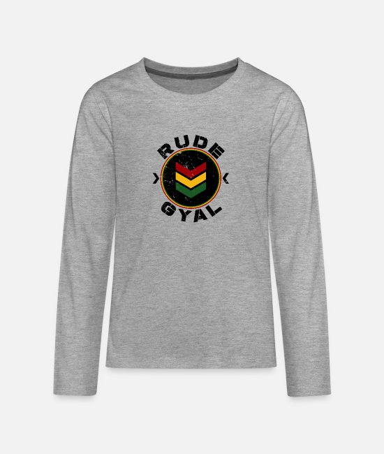 Rastafari Long-Sleeved Shirts - Rude Gyal - Teenage Premium Longsleeve Shirt heather grey