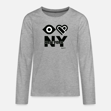 I Love Ny Eye Love Heart I Love NY Nueva York - Camiseta de manga larga premium adolescente