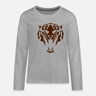 Tribal Tribal Tiger Animal Tattoo 407 - Premium langærmet T-shirt teenager