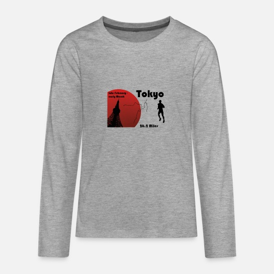 Race Long sleeve shirts - Tokyo Marathon - Teenage Premium Longsleeve Shirt heather grey