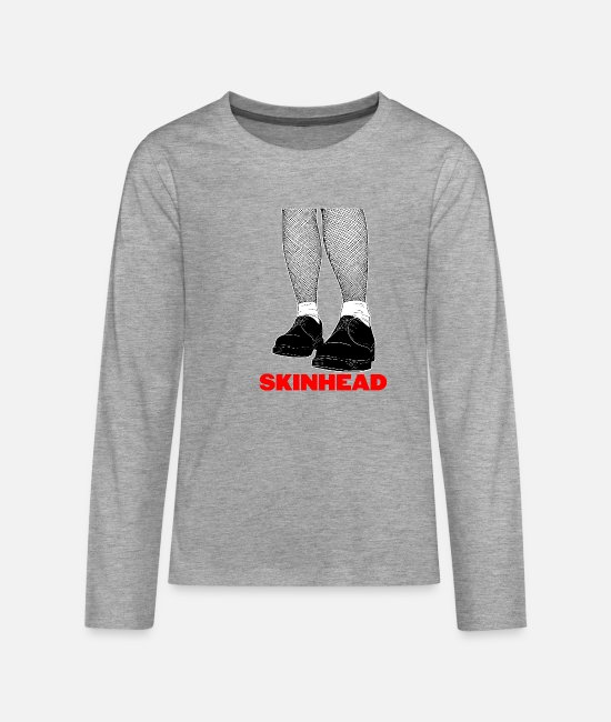 Jamaica Dancehall Long-Sleeved Shirts - Skinhead design - AntiRacist Skinhead Clothing Ltd - Teenage Premium Longsleeve Shirt heather grey