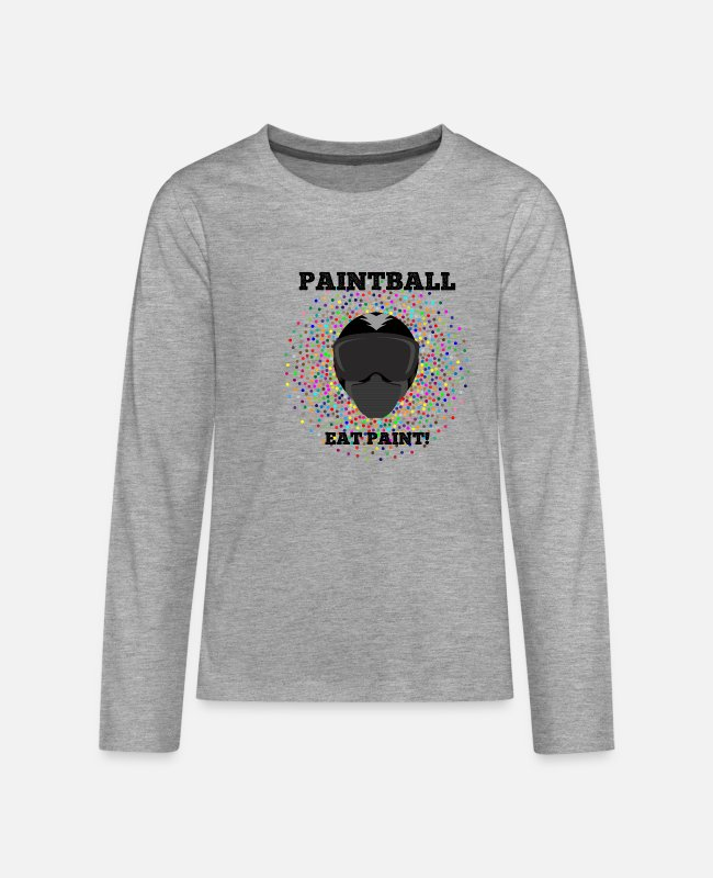 Paintballmaske Langarmshirts - Paintball Eat Paint! - Teenager Premium Langarmshirt Grau meliert