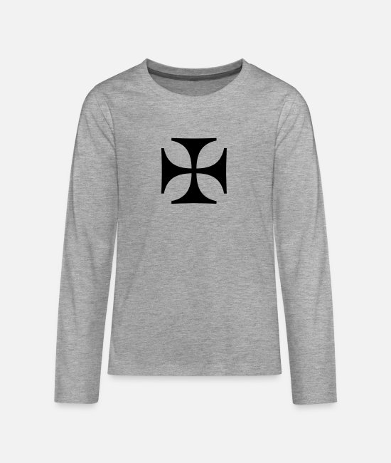 Outlaw Long-Sleeved Shirts - Iron Cross - Eisernes Kreuz - Teenage Premium Longsleeve Shirt heather grey