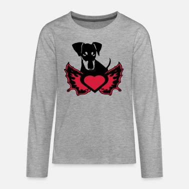 Pinscher flame wing heart - Teenage Premium Longsleeve Shirt