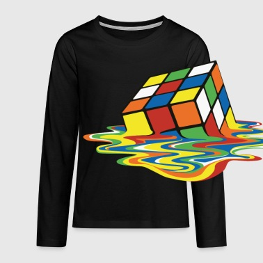 Rubik's Cube Melted Colourful Puddle - Långärmad premium-T-shirt tonåring