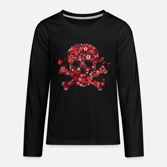 1f8d222abad5d Bestsellers Q4 2018 Manches longues - tête de mort fleurs rouges - T-shirt  manches